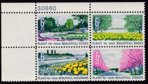 U.S. 1969  6cent Beautification of America  Plate Number Block  VF/NH