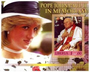 LIBERIA SHEET MNH IMPERF DIANA POPE JOHN PAUL JUAN PABLO