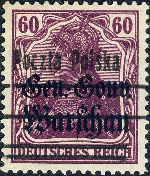 POLOGNE / POLAND / POLEN - 1919 - Mi.13.II 60pf Lila O/P t.II Mint*