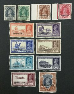 MOMEN: INDIA CHAMBA SG #82-87,89-94 MINT OG 11NH/1H LOT #193938-2351