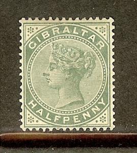 Gibraltar, Scott #9, 1/2p Queen Victoria, Fine Ctring, MH