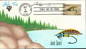 Awesome Pugh Designed/Painted Jock Scott Fishing Fly FDC...150 of 156 Created!