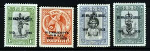 PAPUA 1935 Overprinted Royal Silver Wedding Set SG 150 to SG 153 MINT
