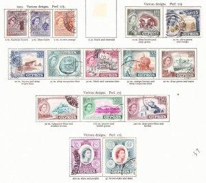 CYPRUS 1955 QEII Definitive Set (15-Off) SG173-187 Fine Used