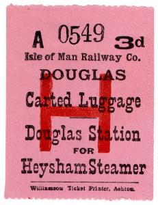 (I.B) Isle of Man Railway : Carted Luggage 3d (Heysham Steamer)