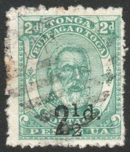 TONGA-1893 2½d on 2d Green Sg 20 GOOD USED V47140