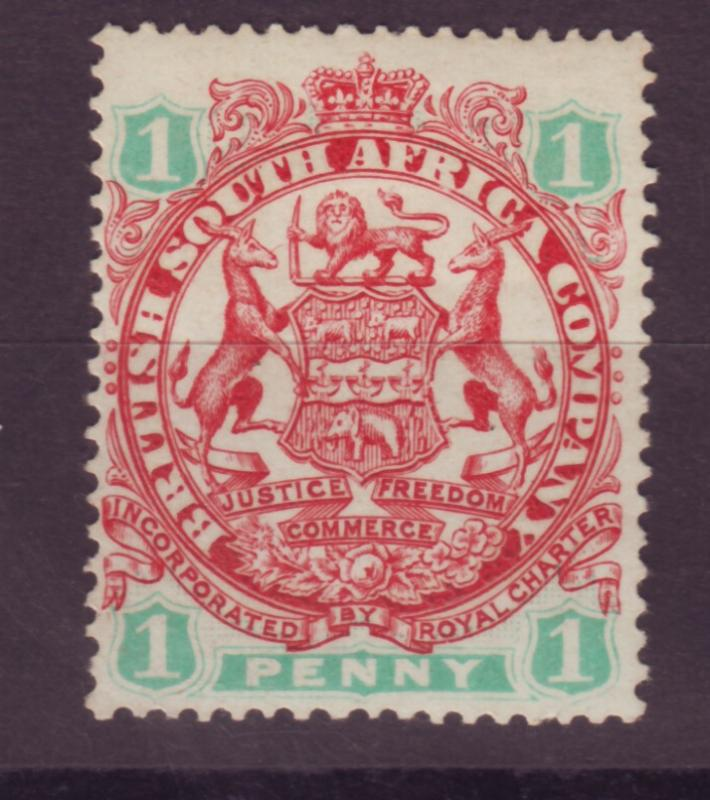 J17052 JLstamps 1896 rhodesia mh #27 coat of arms