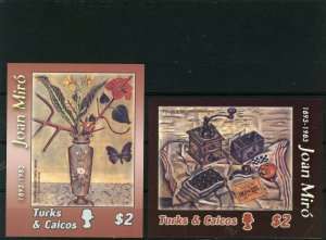 TURKS& CAICOS 2003 Sc#1407-1408 PAINTINGS BY JOAN MIRO SET OF 2 S/S MNH