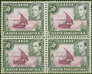 KUT 1938 50c Purple & Black SG144 P.13 x 13.75 V.F MNH Block of 4