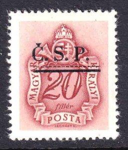 HUNGARY J160 CZECHOSLOVAKIA Č.S.P. 1944 OVERPRINT OG NH U/M XF