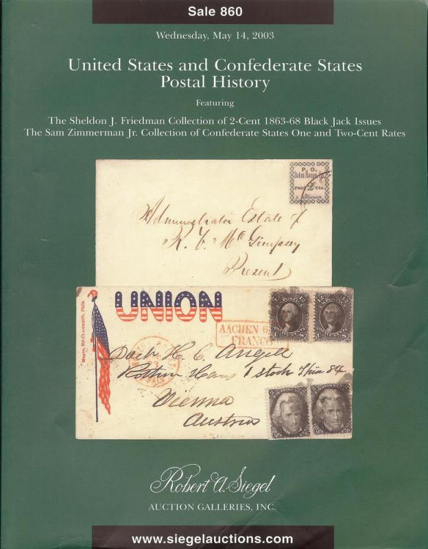 Siegel: Sale # 860  -  United States and Confederate Stat...