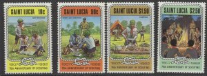 ST.LUCIA SG621/4 1982 75th ANNIV OF BOYSCOUT MOVEMENT MNH