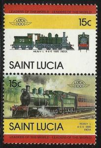 St Lucia 1983 Locomotive Se-tenant Scott# 712 MNH