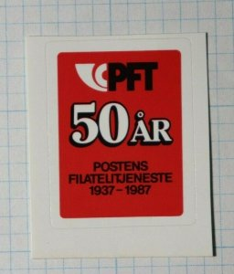PFT 50 Year 1987 Postens Filatelijeneste Norway Philatelic Souvenir Ad Label
