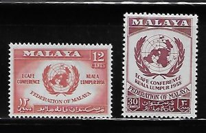Malaya Federation 1958 United Nations UN Sc 85-86 MNH A1633