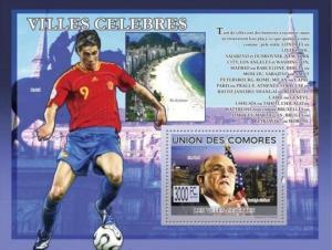 COMORES 2009 SHEET FAMOUS VILLES FOOTBALL SOCCER TORRES GIULIANI MAYOR cm9213b
