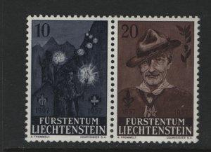LIECHTENSTEIN 316A Pair, MNH, 1957 Lord Baden-Powell