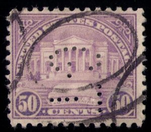 US SCOTT #570 USED PERFIN LETTERS G.T  FACING DOWN F-VF