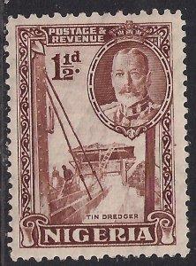 Nigeria 1936 KGV 1 1/2d Brown MM SG 36 ( K318 )