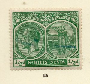 St Kitts Nevis 1920s Early Issue Fine Mint Hinged 1/2d. NW-170447