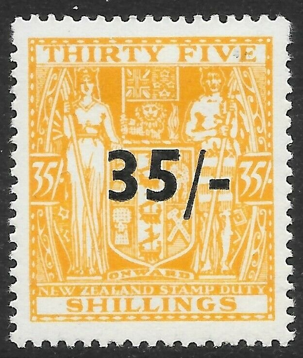 NEW ZEALAND SGF186 1939 35/= on 35/= ORANGE-YELLOW MTD MINT
