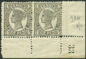 QUEENSLAND-1909 4d Grey-Black Die I.  A mounted mint corner marginal pair Sg 294