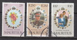 Mauritius 520-522  1981 Royal Wedding set used