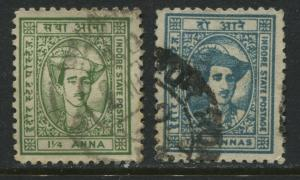 India Indore State 1941 1 1/4 and 2 annas used