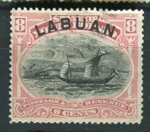 NORTH BORNEO LABUAN; 1890s classic Pictorial issue used 8c. value