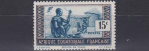 FRENCH EQUATORIAL AFRICA 1937 - 43  15C  BLUE  &  FLESH        MH