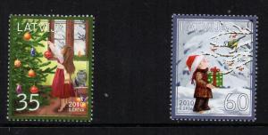 Latvia Sc 773-4 2010 Christmas stamp set mint NH