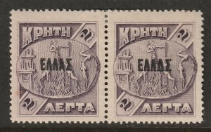 Crete 1908 Sc 86 var pair MH* right with overprint variety