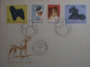 HUNGARY STAMP 1967 SCOTT #  1838-41 HUNGARIAN LOVELY DOGS FDC MINT VERY FINE