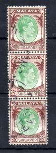 Singapore KGVI 1948 $5 fine used strips of 3 #15 WS13449