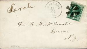 US OAKLAND, CA 4/24/1879 TO SYRACUSE, NY 5/1 BACKSTAMPED 3C RATE MUTE CANCEL