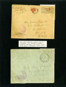 US Stamps Two AEF Censored Covers