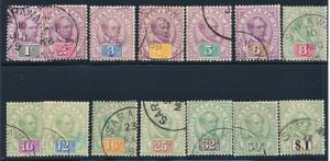 SARAWAK 8-21 USED BROOKE KEYPLATE 1888-1897 SCARCE