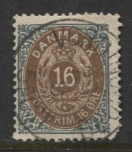Denmark - Scott 30b - Definitive Issue -1875 - Used - Single 16s Stamp