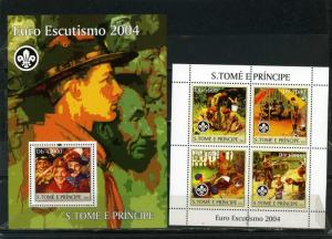 ST.THOMAS & PRINCE ISLANDS 2004 BOY SCOUTS SHEET OF 4 STAMPS & S/S MNH