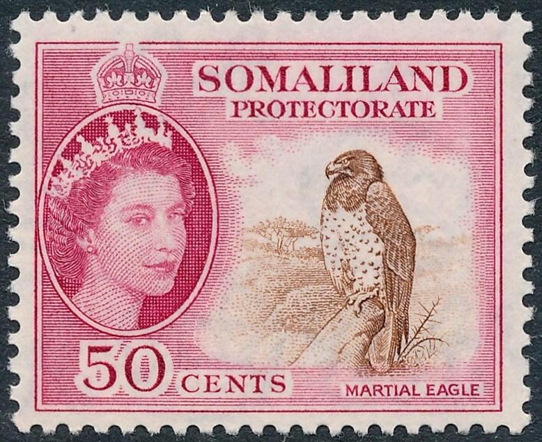 Somaliland Protectorate 1953 50c Brown & Rose-Carmine SG143 MH
