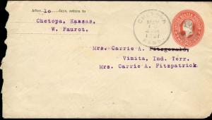 US CHETOPA, KS 5/10/1901 STATIONERY COVER TO VINITA, INDIAN TERRITORY AS SHOWN