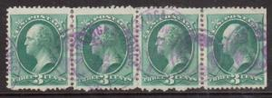 USA #184 Used Scarce Strip Of Four