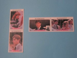 St. Vincent - 958-59, MNH Set in Pairs. Royal Wedding. SCV - $ 2.90