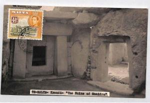 CB263 1940s Malta KGVI Pictorial Issue VIEW SIDE USAGE Ruins RP Postcard Local