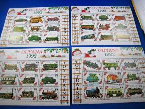 GUYANA  -  SCOTT # 2620-2623  -  4 TRAINS S/S  -  MNH
