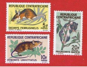 Central Africa #73-75  MNH OG  Mice  Free S/H