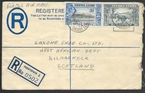 SIERRA LEONE 1952 FORCES AIRMAIL RATE Registered GVI 2d envelope to UK.....56979