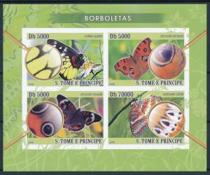 [96662] Sao Tome & Principe 2008 Butterflies Magnifying Glass Imperf. Sheet MNH