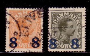 Denmark Sc 161-2 1921 Chritian X ovptd stamps used