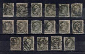 #38 FIVE cent SMALL QUEEN LOT x 17 Canada used $$$$$$